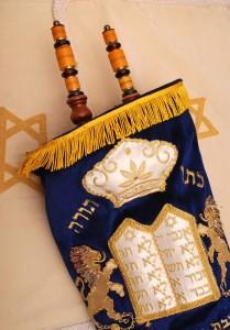 Jewish torah scroll in cover