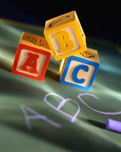 Alphabet Blocks and Chalkboard