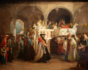 Solomon-Alexander-Hart-The-Feast-of-the-Rejoicing-of-the-Law-at-the-Synagogue-in-Leghorn-Italy-1850